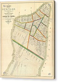 1831 Hooker Map Of New York City Acrylic Print by Paul Fearn