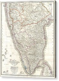 1838 Wyld Wall Map Of India Acrylic Print by Paul Fearn