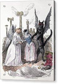1845 Anthropomorphic Devil Angel Cats Acrylic Print by Paul D Stewart