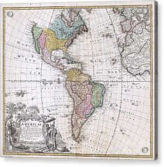 1846 Homann Heirs Map Of North America And South America  Acrylic Print by Paul Fearn