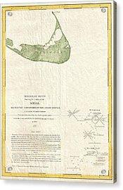 1846 Us Coast Survey Map Of Nantucket  Acrylic Print by Paul Fearn