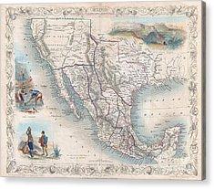 1851 Tallis Map Of Mexico Texas And California  Acrylic Print by Paul Fearn