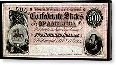 1864 Confederate Five Hundred Dollar Note Acrylic Print by Historic Image