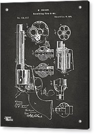 1875 Colt Peacemaker Revolver Patent Artwork - Gray Acrylic Print by Nikki Marie Smith