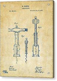 1876 Wine Corkscrews Patent Artwork - Vintage Acrylic Print by Nikki Marie Smith