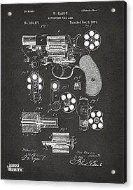 1881 Colt Revolving Fire Arm Patent Artwork - Gray Acrylic Print by Nikki Marie Smith
