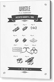 1884 Whistle Patent Drawing Acrylic Print by Aged Pixel