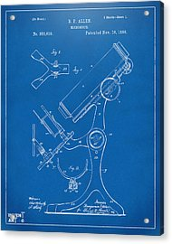 1886 Microscope Patent Artwork - Blueprint Acrylic Print by Nikki Marie Smith