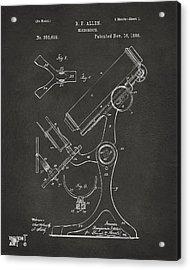 1886 Microscope Patent Artwork - Gray Acrylic Print by Nikki Marie Smith