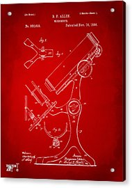 1886 Microscope Patent Artwork - Red Acrylic Print by Nikki Marie Smith