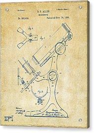 1886 Microscope Patent Artwork - Vintage Acrylic Print by Nikki Marie Smith