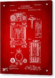 1889 First Computer Patent Red Acrylic Print by Nikki Marie Smith