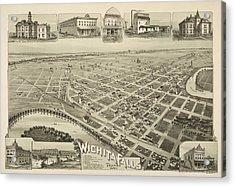 1890 Wichita Falls Texas Map Acrylic Print by Dan Sproul