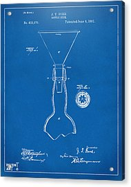 1891 Bottle Neck Patent Artwork Blueprint Acrylic Print by Nikki Marie Smith