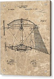1893 Aerial Vessel Patent Acrylic Print by Dan Sproul