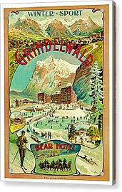 1893 Grindelwald Vintage Travel Art Acrylic Print by Presented By American Classic Art