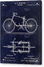 1895 Bicycle Patent Drawing Blue Acrylic Print by Jon Neidert
