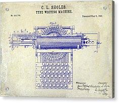 1896 Type Writer Patent Drawing Acrylic Print by Jon Neidert