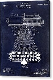 1899 Type Writer Patent Drawing Blue 2 Acrylic Print by Jon Neidert