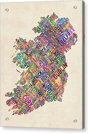 Ireland Eire City Text Map Acrylic Print by Michael Tompsett