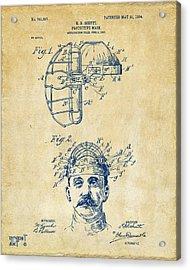 1904 Baseball Catchers Mask Patent Artwork - Vintage Acrylic Print by Nikki Marie Smith