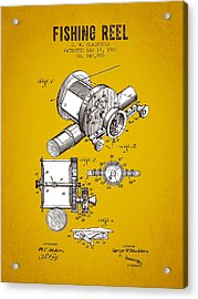 1907 Fishing Reel Patent - Yellow Brown Acrylic Print by Aged Pixel