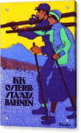 1910 Austrian Ski Poster Acrylic Print by Historic Image