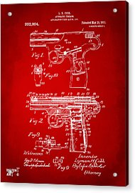 1911 Automatic Firearm Patent Artwork - Red Acrylic Print by Nikki Marie Smith