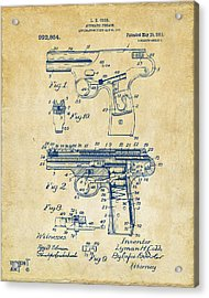 1911 Automatic Firearm Patent Artwork - Vintage Acrylic Print by Nikki Marie Smith
