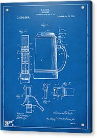 1914 Beer Stein Patent Artwork - Blueprint Acrylic Print by Nikki Marie Smith