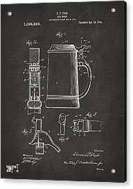 1914 Beer Stein Patent Artwork - Gray Acrylic Print by Nikki Marie Smith