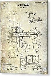 1915 Aeroplane Patent Drawing Acrylic Print by Jon Neidert
