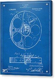 1915 Movie Film Reel Patent Blueprint Acrylic Print by Nikki Marie Smith