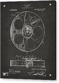 1915 Movie Film Reel Patent Gray Acrylic Print by Nikki Marie Smith