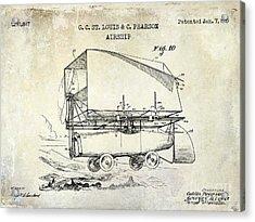 1919 Airship Patent Drawing Acrylic Print by Jon Neidert