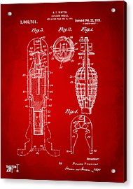 1921 Explosive Missle Patent Red Acrylic Print by Nikki Marie Smith