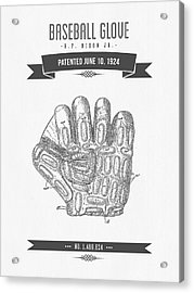 1924 Baseball Glove Patent Drawing Acrylic Print by Aged Pixel