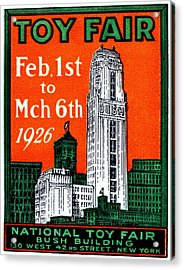 1926 New York City Toy Fair Poster Acrylic Print by Historic Image