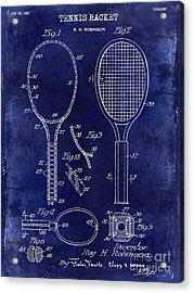 1927 Tennis Racket Patent Drawing Blue Acrylic Print by Jon Neidert