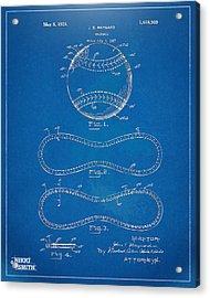 1928 Baseball Patent Artwork - Blueprint Acrylic Print by Nikki Smith
