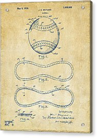 1928 Baseball Patent Artwork Vintage Acrylic Print by Nikki Marie Smith