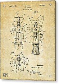 1928 Cork Extractor Patent Art - Vintage Black Acrylic Print by Nikki Marie Smith
