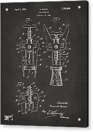 1928 Cork Extractor Patent Artwork - Gray Acrylic Print by Nikki Marie Smith