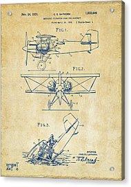 1931 Aircraft Emergency Floatation Patent Vintage Acrylic Print by Nikki Marie Smith