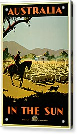 1935 Australia In The Sun - Vintage Travel Art Acrylic Print by Presented By American Classic Art
