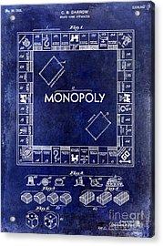 1935 Monopoly Patent Drawing Blue Acrylic Print by Jon Neidert