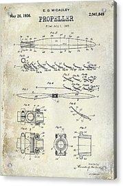 1936 Propeller Patent Drawing Acrylic Print by Jon Neidert