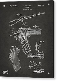 1937 Police Remington Model 8 Magazine Patent Artwork - Gray Acrylic Print by Nikki Marie Smith