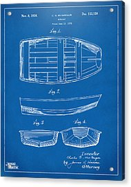 1938 Rowboat Patent Artwork - Blueprint Acrylic Print by Nikki Marie Smith