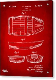 1938 Rowboat Patent Artwork - Red Acrylic Print by Nikki Marie Smith